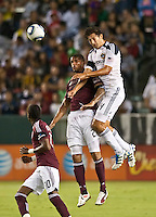 CARSON, CA – September 9, 2011: Colorado Rapid forward Caleb Folan (21) and LA Galaxy defender Omar Gonzalez (4) during the match between LA Galaxy and Colorado Rapids at the Home Depot Center in Carson, California. Final score LA Galaxy 1, Colorado Rapids 0.
