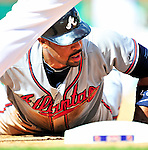 25 September 2010: Atlanta Braves outfielder Derrek Lee is picked off first base on a caught line drive by Adam Kennedy during game action against the Washington Nationals at Nationals Park in Washington, DC. The Braves shut out the Nationals 5-0 to even their 3-game series at one win apiece. The Braves' victory was the 2500th career win for skipper Bobby Cox. Cox will retire at the end of the 2010 season, crowning a 29-year managerial career. Mandatory Credit: Ed Wolfstein Photo