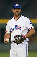 Round Rock Express third baseman Kevin Kouzmanoff #3 before the Pacific Coast League baseball game against the Oklahoma City Redhawks on April 3, 2014 at the Dell Diamond in Round Rock, Texas. The Redhawks defeated the Express 7-6 in the season opener for both teams. (Andrew Woolley/Four Seam Images)