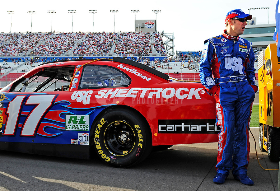 Feb. 27, 2009; Las Vegas, NV, USA; NASCAR Sprint Cup Series driver Matt Kenseth during qualifying for the Shelby 427 at Las Vegas Motor Speedway. Mandatory Credit: Mark J. Rebilas-