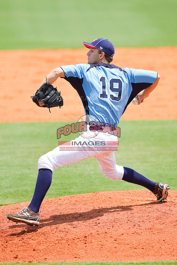 Colyn O'Connell #19 of Dixie in action against AABC at the 2011 Tournament of Stars at the USA Baseball National Training Center on June 25, 2011 in Cary, North Carolina.  The AABC defeated Dixie 4-2.  (Brian Westerholt/Four Seam Images)