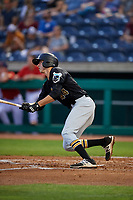 West Virginia Black Bears shortstop Zack Kone (44) follows through on a swing during a game against the State College Spikes on August 30, 2018 at Medlar Field at Lubrano Park in State College, Pennsylvania.  West Virginia defeated State College 5-3.  (Mike Janes/Four Seam Images)