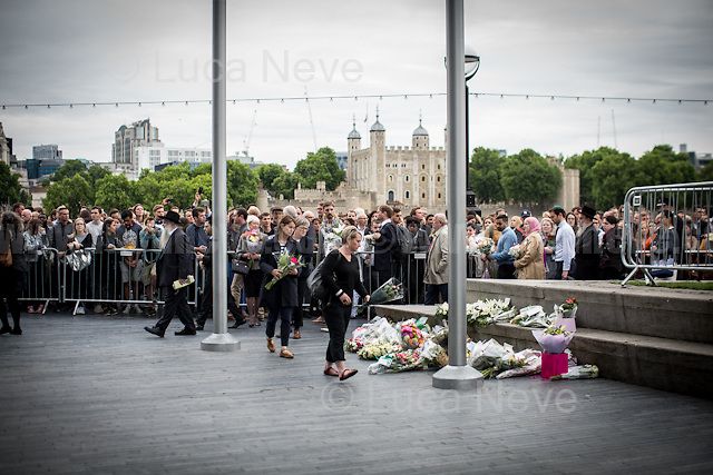 London, 05/06/2017. Today, members of the public, politicians, multi-faith leaders, ambassadors, tourists and police gathered at the vigil in Potters Field Park near City Hall (about a mile from London Bridge and Borough Market) to remember the seven victims of the 3rd of June London Bridge &amp; Borough Market terrorist attack.The commemoration ceremony was led by London's Mayor Sadiq Khan, Secretary of State Amber Rudd MP, Shadow Secretary of State Diane Abbott MP. Other guests included: MET Police Commissioner Cressida Dick, Commissioner Ian Dyson and commander Jane Gyford from City of London Police, Archbishop of Canterbury Justin Welby, Chief Rabbi Ephraim Mirvis and leaders and members of London's Muslim community.<br />