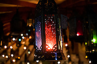 Close up of a lantern among the many on display during a Moonlight Madness sale.