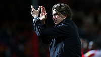 Brentford Head Coach, Thomas Frank applauds the fans at the final whistle during Brentford vs Luton Town, Sky Bet EFL Championship Football at Griffin Park on 30th November 2019