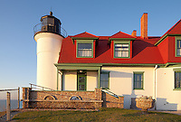 Benzie County, Michigan<br /> Evening light on the tower and stone work railing of Point Betsie Lighthouse (1858), Lake Michigan shore