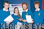 MATHS; Dylan O'Connor Desmond, Rebecca Savage, Cathal O'Donnell and Ciaran O'Rourke, Mercy Mounthawke,Secondry School, Tralee leaving cert students, going over the Maths questions at the Team Maths 2013 Regional Rounds in the ITT South Campus, Tralee on Friday evening.