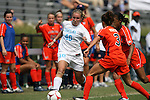 20 September 2009: North Carolina's Emmalie Pfankuch (40) is defended by Auburn's Jessica Rightmer (3). The University of North Carolina Tar Heels played the Auburn University Tigers to a 0-0 tie after overtime at Koskinen Stadium in Durham, North Carolina in an NCAA Division I Women's college soccer game.
