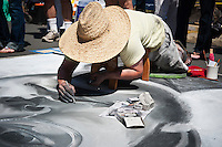 I Madonnari Itallian street painting festival at Santa Barbara Mission, California, 2011