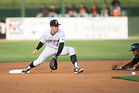 Daniel Mendick (22) of the Kannapolis Intimidators fields a throw at second base during the game against the Delmarva Shorebirds at Kannapolis Intimidators Stadium on April 21, 2016 in Kannapolis, North Carolina.  The Intimidators defeated the Shorebirds 9-3.  (Brian Westerholt/Four Seam Images)