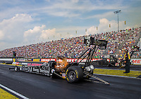 Sep 7, 2015; Clermont, IN, USA; NHRA top fuel driver Dave Connolly during the US Nationals at Lucas Oil Raceway. Mandatory Credit: Mark J. Rebilas-USA TODAY Sports