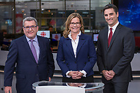 RÈgis Labeaume, Jean-FranÁois Gosselin and Anne Guerette before a debate for the municipal election in Quebec city October 17, 2017.<br /> <br /> PHOTO :  Francis Vachon - Agence Quebec Presse