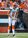 CLEVELAND, OH - AUGUST 18, 2016: Punter Andy Lee #8 of the Cleveland Browns awaits the snap on a punt in the first quarter of a preseason game on August 18, 2016 against the Atlanta Falcons at FirstEnergy Stadium in Cleveland, Ohio. Atlanta won 24-13. (Photo by: 2016 Nick Cammett/Diamond Images) *** Local Caption *** Andy Lee