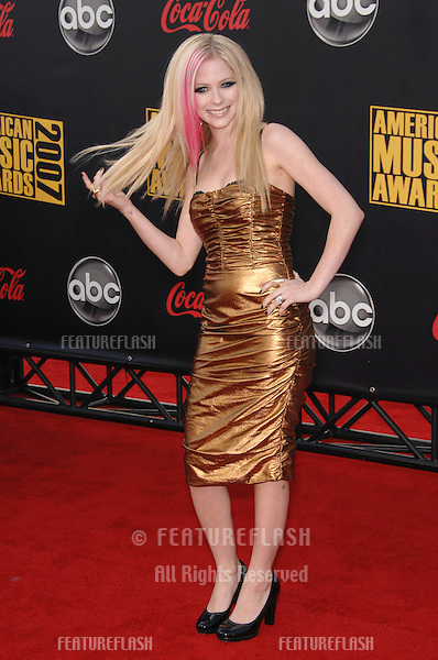 Avril Lavigne at the 2007 American Music Awards at the Nokia Theatre, Los Angeles..November 18, 2007  Los Angeles, CA.Picture: Paul Smith / Featureflash