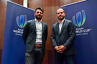 Fabrice Estebanez and Frederic Michalak during the press conference World Cup Rugby 2023 on May 15, 2018 in Paris, France. (Photo by Aude Alcover/Icon Sport)