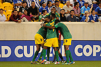 Ryan Johnson (9) of Jamaica celebrates scoring. Jamaica defeated Honduras 1-0 during a CONCACAF Gold Cup group stage match at Red Bull Arena in Harrison, NJ, on June 13, 2011.
