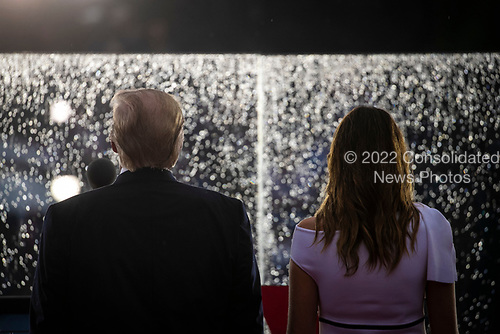 """U.S. President Donald Trump and first lady Melania Trump participate during the Fourth of July Celebration 'Salute to America' event in Washington, D.C., U.S., on Thursday, July 4, 2019. The White House said Trump's message won't be political -- Trump is calling the speech a """"Salute to America"""" -- but it comes as the 2020 campaign is heating up. <br /> Credit: Al Drago / Pool via CNP"""