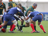South African tight head Frederick Kirsten drives forward during the Division A U19 World Championship clash against France at Ravenhill.