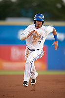 Dunedin Blue Jays shortstop J.C. Cardenas (2) running the bases during a game against the St. Lucie Mets on April 19, 2017 at Florida Auto Exchange Stadium in Dunedin, Florida.  Dunedin defeated St. Lucie 9-1.  (Mike Janes/Four Seam Images)