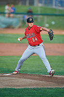 Billings Mustangs starting pitcher Ricky Salinas (64) delivers a pitch during a game against the Ogden Raptors at Lindquist Field on August 18, 2018 in Ogden, Utah. Billings defeated Ogden 6-4. (Stephen Smith/Four Seam Images)