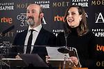 Javier Cámara and Natalia de Molina during the reading of the nominates for Goya 2017 at Academia de Cine in Madrid, Spain. December 14, 2016. (ALTERPHOTOS/BorjaB.Hojas)