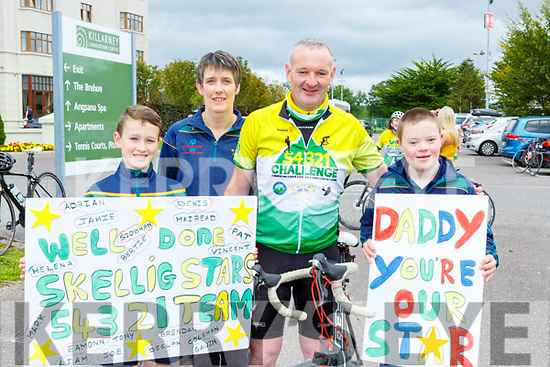 Gavin, Angela and RYan Griffin Waterville welcome home their dad Adrian Griffin in Killarney on Sunday
