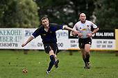 Nicholas Baldwin kicks an early penalty goal. Counties Manukau Division 2 Rugby game between Onewhero & Papakura played up on the hill at Onewhero on Saturday June 28th 2008..Papakura won 25 - 13 after Onewhero led 10 - 8 at halftime.