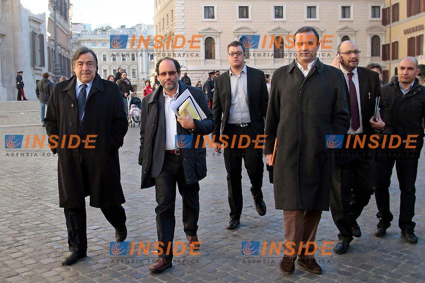 Loeluca Orlando, Antonio Ingroia e Luigi De Magistris.Roma 29/12/2012 Presentazione del movimento, lista 'Rivoluzione Civile'..Photo Samantha Zucchi Insidefoto
