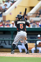 Miami Marlins outfielder Reed Johnson (5) during a Spring Training game against the Detroit Tigers on March 25, 2015 at Joker Marchant Stadium in Lakeland, Florida.  Detroit defeated Miami 8-4.  (Mike Janes/Four Seam Images)