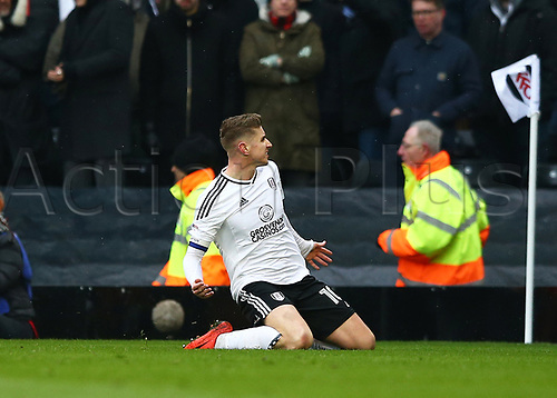 17th March 2018, Craven Cottage, London, England; EFL Championship football, Fulham versus Queens Park Rangers; Tom Cairney of Fulham celebrates after scoring his sides 1st goal in the 31st minute to make it 1-0