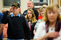 NWA Democrat-Gazette/JASON IVESTER<br /> Cliff Stolpe (cq) of Bella Vista and an Army veteran in World War II, salutes as the colors are posted Monday, May 29, 2017, during the Memoral Day Program at the American Legion Post 341 in Bella Vista.