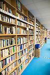 Secondhand books on bookshelves in huge Bookbarn International shop, Hallatrow, near Bristol, England, UK