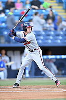 Rome Braves center fielder Drew Waters (11) swings at a pitch during a game against the Asheville Tourists at McCormick Field on April 17, 2018 in Asheville, North Carolina. The Tourists defeated the Braves 1-0. (Tony Farlow/Four Seam Images)