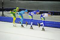 SCHAATSEN: HEERENVEEN: 25-10-2014, IJsstadion Thialf, Marathonschaatsen, Crispijn Ariens (#88), Bob de Vries (#1), Erik Jan Kooiman (#37), Timo Verkaaik (#57), ©foto Martin de Jong