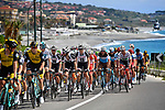 The peleton ride along the coast during Stage 7 of the 2018 Giro d'Italia, a flat stage running 159km from Pizzo to Praia a Mare, Italy. 11th May 2018.<br /> Picture: LaPresse/Fabio Ferrari | Cyclefile<br /> <br /> <br /> All photos usage must carry mandatory copyright credit (&copy; Cyclefile | LaPresse/Fabio Ferrari)