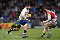 Matt Banahan of Bath Rugby goes on the attack. Aviva Premiership match, between Harlequins and Bath Rugby on March 2, 2018 at the Twickenham Stoop in London, England. Photo by: Patrick Khachfe / Onside Images