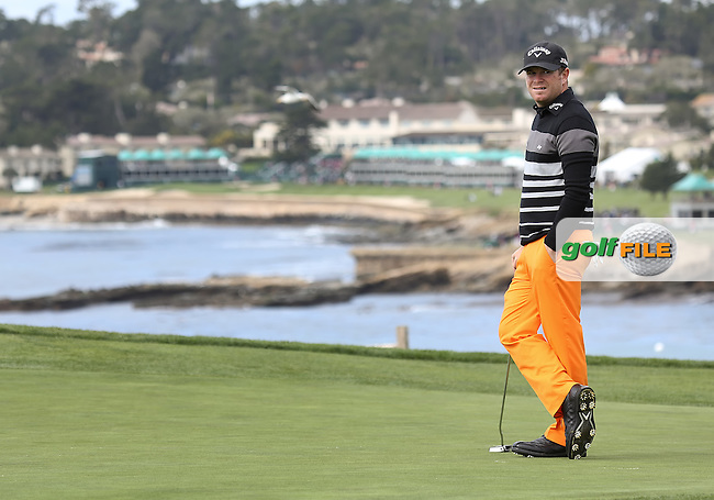 08 FEB 13 Aaron Watkins on the 6th fairway during Friday's Second Round of The AT&T Pebble Beach National Pro-Am at The Pebble Beach Golf Links in Carmel, California. (photo:  kenneth e.dennis / kendennisphoto.com) Byline: Ken Dennis/ www.golffile.ie