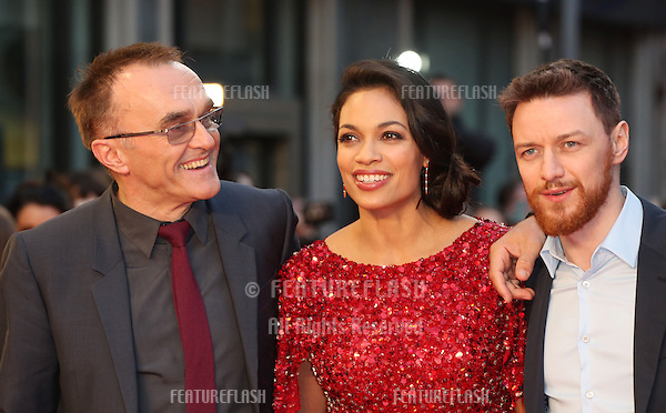 Danny Boyle, Rosario Dawson, James McAvoy  arriving for the 'Tance' UK Premiere, Odeon Leicester Square, London.  19/03/2013 Picture by: Henry Harris / Featureflash