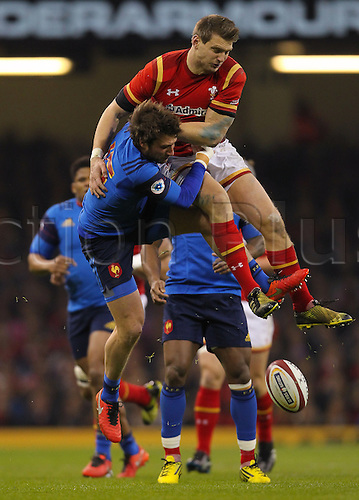 26.02.2016. Principality Stadium, Cardiff, Wales. RBS Six Nations Championships. Wales versus France. Wales Dan Biggar and France's Maxime Medard and challenge for a high ball