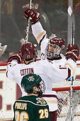 Austin Cangelosi (BC - 9), David Cotton (BC - 17) - The Boston College Eagles defeated the University of Vermont Catamounts 7-4 on Saturday, March 11, 2017, at Kelley Rink to sweep their Hockey East quarterfinal series.The Boston College Eagles defeated the University of Vermont Catamounts 7-4 on Saturday, March 11, 2017, at Kelley Rink to sweep their Hockey East quarterfinal series.
