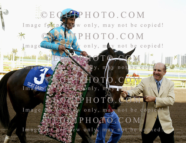 31 Mar 2007: Owner Michael Tabor guides Scat Daddy (3) with jockey Edgar Prado into the winners circle after winning the $1,000,000 Florida Derby at Gulfstream Park in Hallandale Beach, Florida.  Photo By Bill Denver/EQUI-PHOTO