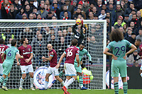 lukasz Fabianski of West Ham United jumps and catches a cross during West Ham United vs Arsenal, Premier League Football at The London Stadium on 12th January 2019