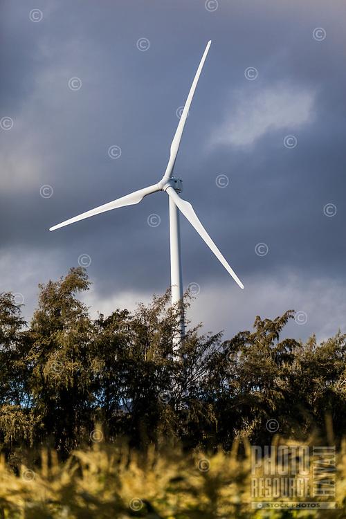 A wind turbine at the Kahuku Wind Farm, Kahuku, O'ahu.