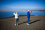 Rel, left, and Bob Flanagan visit the greatly receded Folsom Lake under drought conditions January 9, 2014 in Folsom, California.