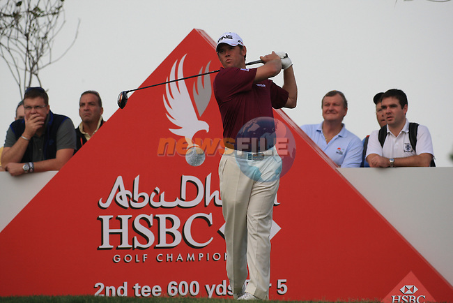 Lee Westwood teeing off on the second tee on day one of the Abu Dhabi HSBC Golf Championship 2011, at the Abu Dhabi golf club 20/1/11..Picture Fran Caffrey/www.golffile.ie.