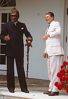Washington DC., USA, September 23, 1984<br /> President Ronald Reagan with President Mobutu Sese Seko of Zaire in the Rose Garden and then walks with him to the South Lawn to deliver remarks after their earlier meeting in the Oval Office Credit: Mark Reinstein/MediaPunch