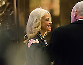 Trump campaign manager Kellyanne Conway is seen in the lobby of Trump Tower in New York, NY, USA on December 15, 2016. <br /> Credit: Albin Lohr-Jones / Pool via CNP