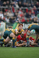 Australian scrum half Jason Ryan gets the ball away during the clash 3rd/4th place clash at Ravenhill, Belfast. Result Australia 25 Wales 21.