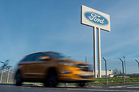 Thursday 02 March 2017<br /> Pictured: Cars leave the ford factory in Bridgend <br /> Re: Ford expects to cut more than 1,100 jobs from its Bridgend plant by 2021, casting doubt on the future of the Welsh engine facility.