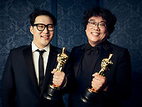 Oscar® winners Han Jin Wan and Bong Joon Ho during the 92nd Oscars® on Sunday, February 9, 2020 at the Dolby Theatre® in Hollywood, CA, televised live by the ABC Television Network.<br /> *Editorial Use Only*<br /> CAP/AMPAS<br /> Supplied by Capital Pictures